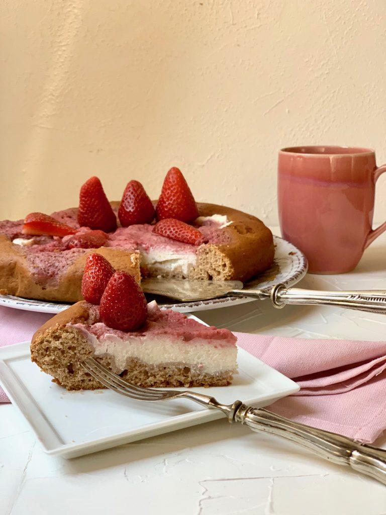 torta a basso in dice glicemico con coulis di fragole e ricotta zucchineinfuga